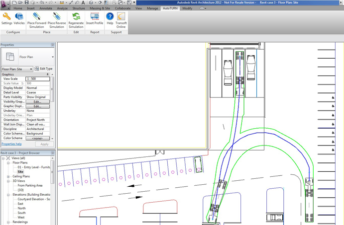 Swept path solution using revit for architects and design for Vehicle swept path templates